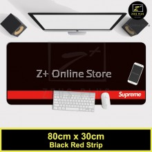 SUPREME Black & Red Strip Large Gaming Mouse Pad Minimalist Design Computer Accessories Table Mat for Gamer Office & Home Use