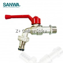 """SANWA 1/2"""" Bib Cock With Quick Coupling Ball Tap with Hose Model CKT 15 Brass Chromium Faucet Water Tap"""