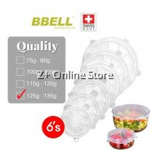 [Switzerland] BBELL Silicone Food Cover Lids 6 Pcs Set Stretchable Kitchen Food Cover Airtight Lid Penutup Makanan 硅胶食物盖