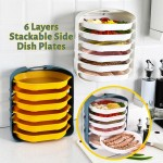 6 Layers Stackable Food Plate Rack Wall Mounted Steamboat Hot Pot Side Dish Plate Shelf Serving Tray Kitchen Ingredients Food Preparation Organizer Platter