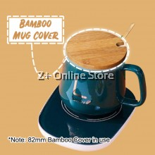 Z PLUS Bamboo Cup Cover Lid Wooden Coffee Mug Cover with Spoon Hole Penutup Cawan 竹木杯盖
