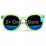 Z PLUS Korean Retro Sunglasses with Reflective Colour Film (Green) [free glasses clothes and bags]