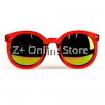 Z PLUS Korean Retro Sunglasses with Reflective Colour Film (Red Red) [free glasses clothes and bags]