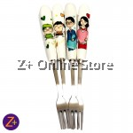 Z PLUS Cute Creative Happy Family Set of 4 Stainless Steel Forks With Ceramic Handle