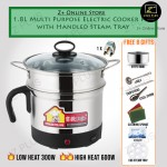 Z PLUS Multi Purpose 8 in 1 Stainless Steel Electric Pot Cooker Home Student use (1.8L) with free adapter